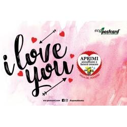 Eco-Postcard di auguri per San Valentino I love you - Viola del pensiero