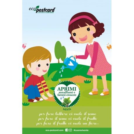 Eco-Postcard cartolina ecologica con filastrocca per bambini