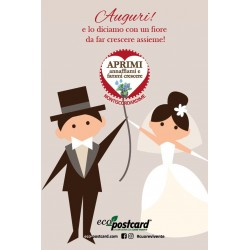 Eco-Postcard Auguri Matrimonio Partecipazioni Disegno - Nontiscordardime