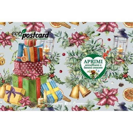 Eco-Postcard Natalizia con Pacchi regalo - tagete