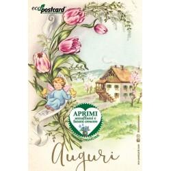 Eco-Postcard di Auguri con disegno di bambini d'epoca