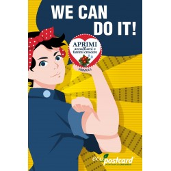 Eco-Postcard Auguri Festa della Donna We can do it - Primula