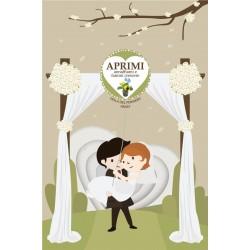 Eco-Postcard Auguri Sposi Partecipazioni Matrimonio Disegno Animato con Realtà Aumentata - Viola del pensiero