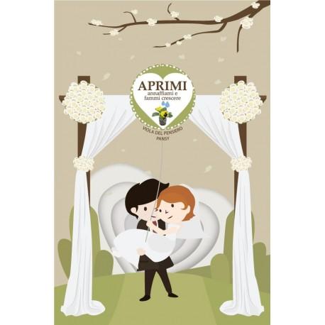 Eco-Postcard per annunciare o celebrare il tuo matrimonio - Viola del pensiero