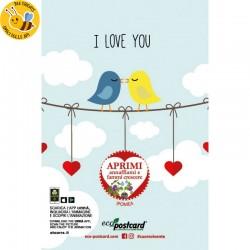 Eco-Postcard di auguri per San Valentino Uccellini con Realtà Aumentata - Ipomea