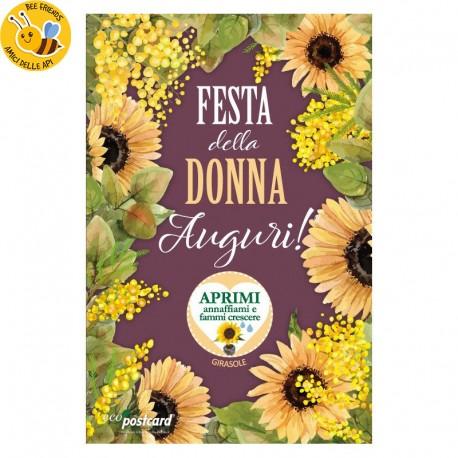 Eco-Postcard Auguri Festa della Donna 8 - Girasole
