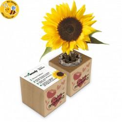 Eco-Woody - Ti voglio bene Mamma - Cubo di legno con semi di Girasole
