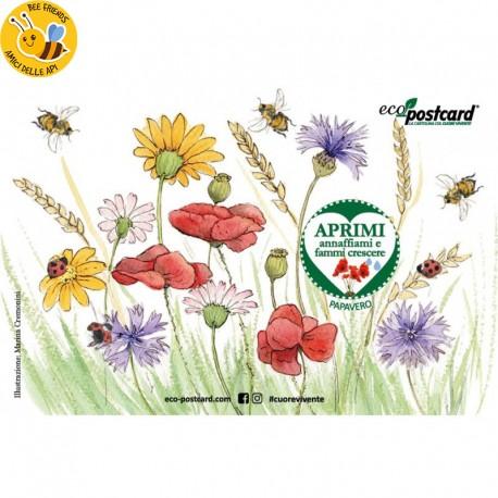 Eco-Postcard Illustrazione ad Acquerello - Papavero