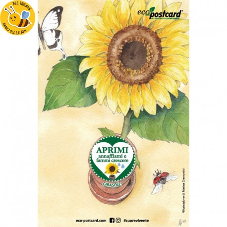 Eco-Postcard cartolina illustrazione ad acquerello - Girasole