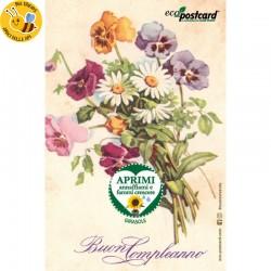 Eco-Postcard Buon Compleanno con mazzo di fiori vintage
