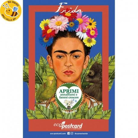 Eco-Postcard Artistica  dedicata a Frida Kahlo con Realtà Aumentata   Fronte