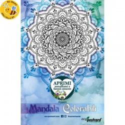Eco-Postcard colorabile mandala blu - ipomea