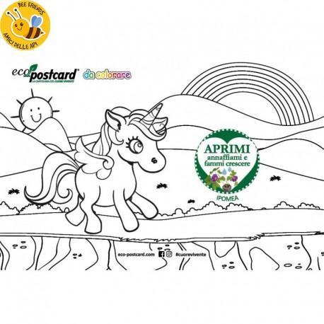 Eco-Postcard colorabile unicorno - ipomea