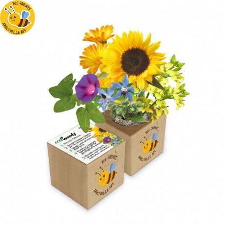 Eco-Woody cubo di legno con fiori amici delle api