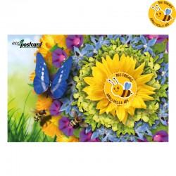 Eco-Postcard Bee Friends - Cartolina ecologica con semi di piante mellifere amiche delle api