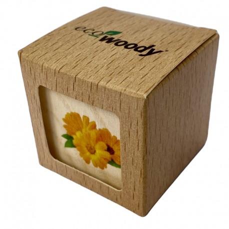 Eco-Woody cubo di legno con semi di Calendula