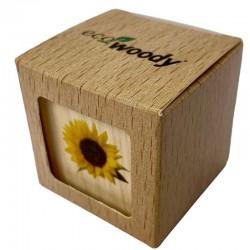 Eco-Woody - Cubo di legno 100% ecologico e sostenibile con semi di Girasole