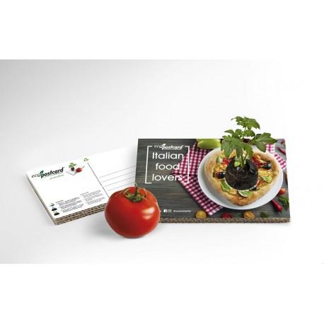 Eco-Postcard cartolina Italian Food Lovers pizza | Con piantina