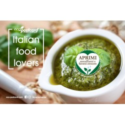 Eco-Postcard cartolina Italian Food Lovers pesto | Fronte