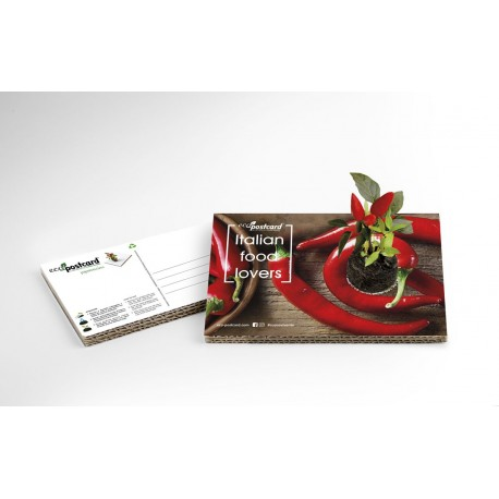 Eco-Postcard cartolina Italian Food Lovers peperoncino | Con piantina