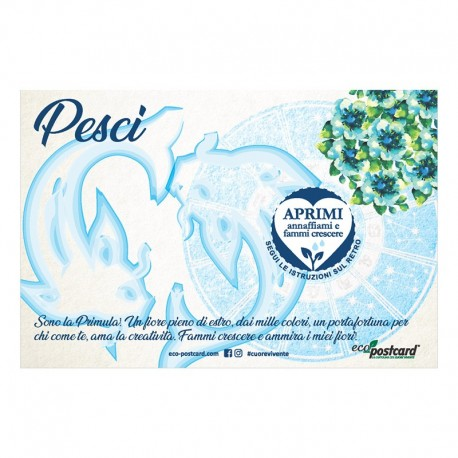 Eco-Postcard zodiaco Pesci - primula