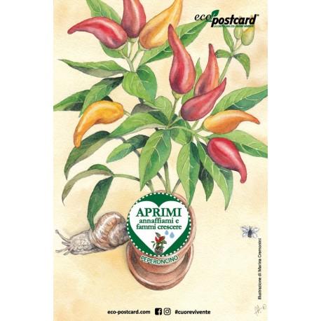 Eco-Postcard cartolina illustrazione ad acquerello - Peperoncino